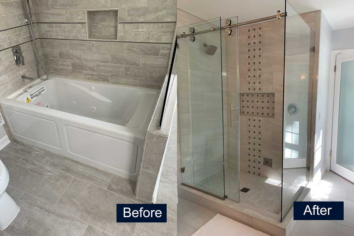 Master shower before and after