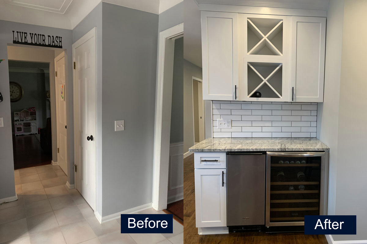 Pantry turned Wine Bar Before & After