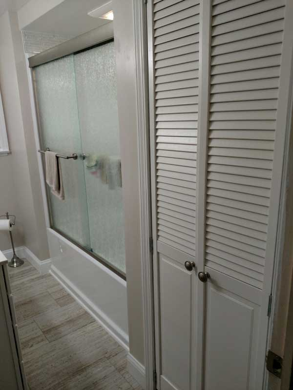 New shower, floor, closet