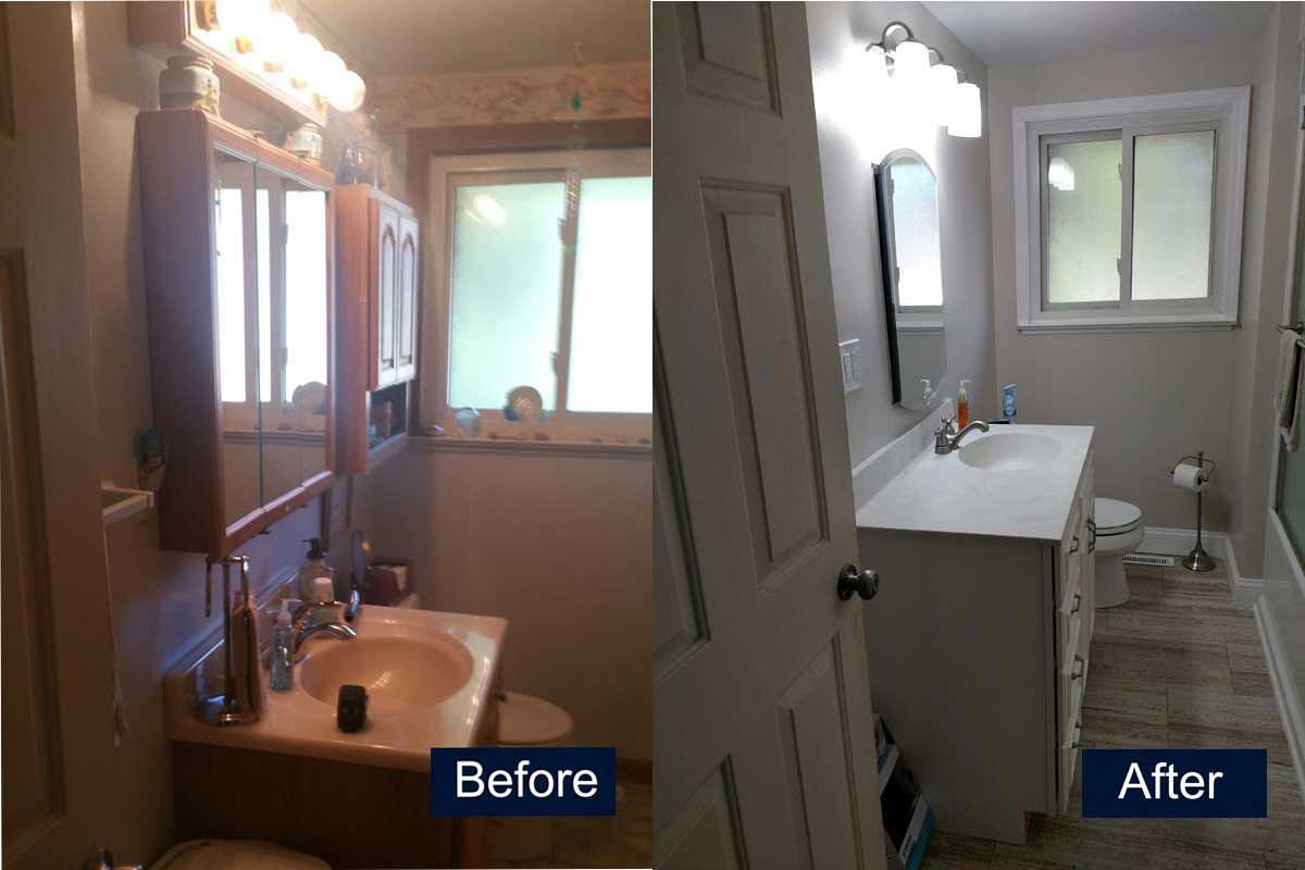 Bathroom Sink and Floor Before & After