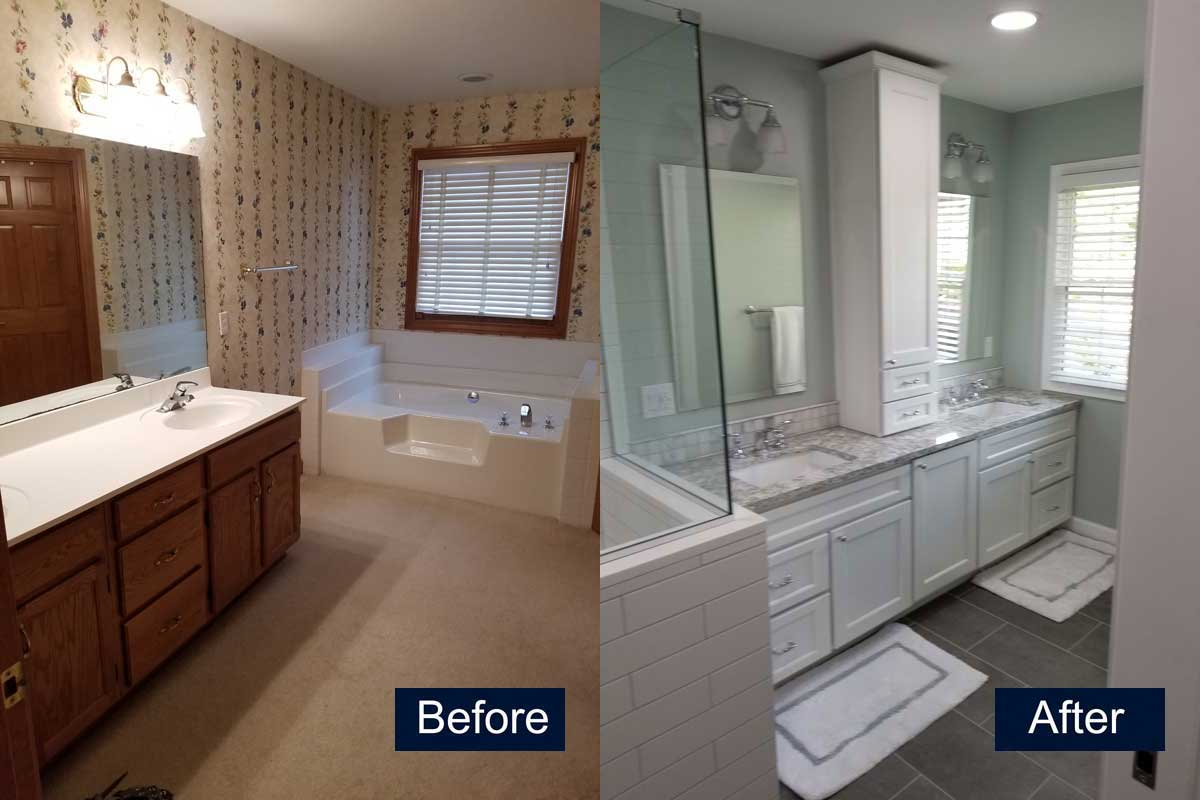 Bathroom Remodel-New vanity, carpet, tub removed Before & After