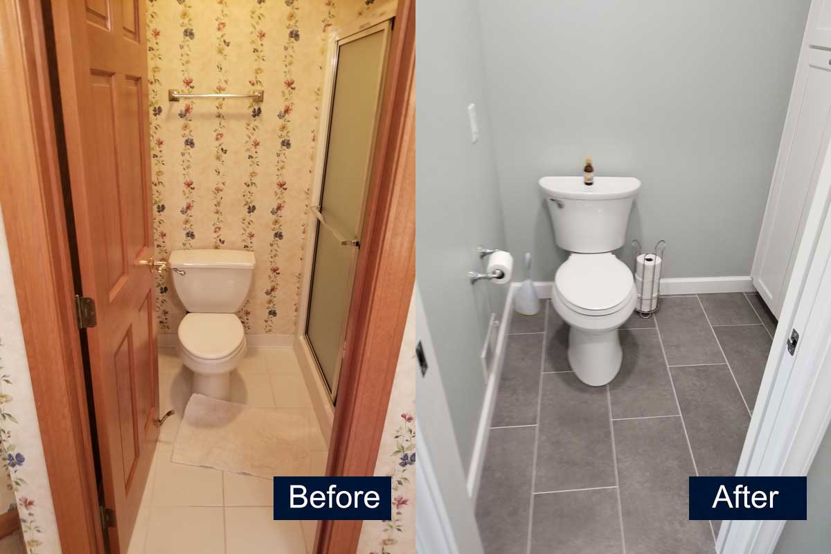 Bathroom Toilet and Storage Before & After